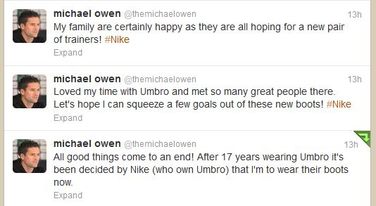 Michael Owen switch to Nike