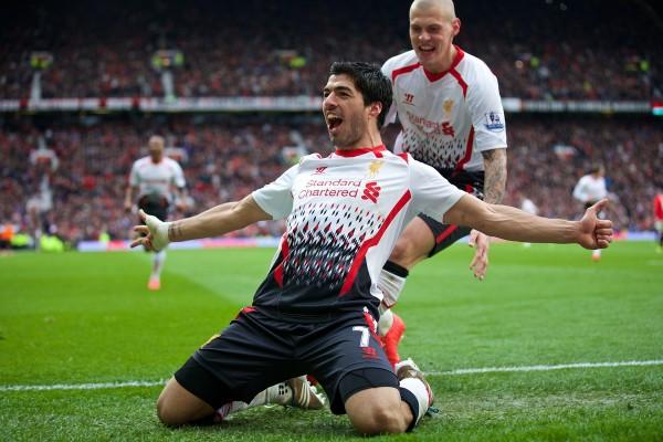 suarez celebrates in primeknits against manchester united