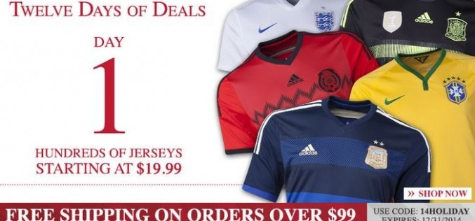 Soccer.com's 12 Days of Deals Day 1 – National Jerseys for $19.99!